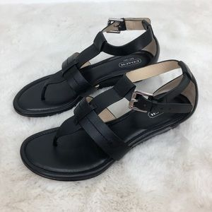 Coach Black Velvet Wedge T-Strap Sandals